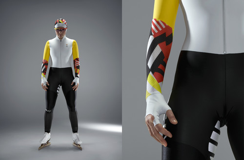 Image of a female speedskater. She wears a speedskating outfit for the Olympic winter games in PyeongChang that was design by Studio WillemsPeeters.